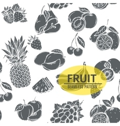 Seamless pattern with monochrome decorative fruit vector
