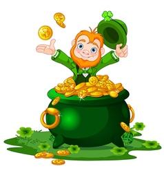 Leprechaun and pot of gold vector
