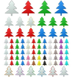 Color metallic pine tree button set vector