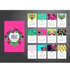 Tropical printable calendar 2017 vector image