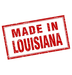 Louisiana red square grunge made in stamp vector