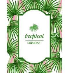 Paradise card with palms leaves decorative image vector