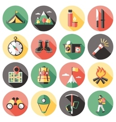 Climber long shadow flat icons set vector