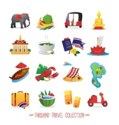 Thailand travel flat icons collection vector