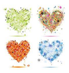 Four seasons hearts - spring summer autumn winter vector image