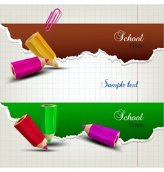 Torn paper banners with space for text School time vector image
