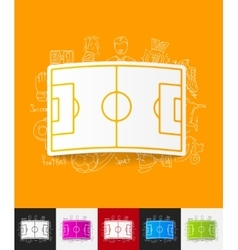 Playing field paper sticker with hand drawn vector