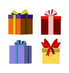 Colorful wrapped gift boxes signs vector