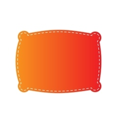 Pillow sign  orange applique isolated vector