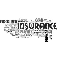 A review on admiral car insurance text word cloud vector