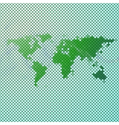 Abstract green mosaic world map vector