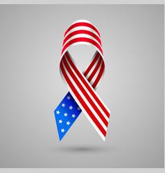 American flag ribbon patriotic symbol of 4 july vector