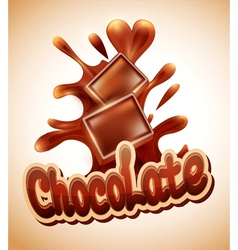 background with chocolate pieces falling into melt vector image vector image