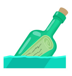 Bottle with message icon cartoon style vector