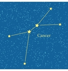 Cancer zodiac symbol on background of cosmic sky vector