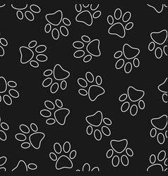 cat or dog footprint dark seamless pattern vector image vector image
