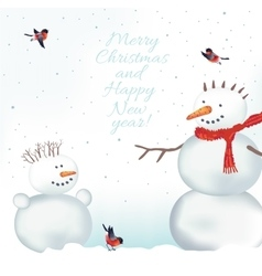 Christmas card with snowmen vector image