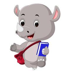 Cute rhino holding book vector