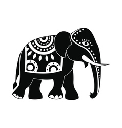 Decorated elephant icon simple style vector