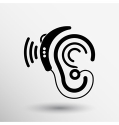 Ear icon hearing aid ear listen sound graphics vector