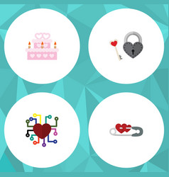 Flat icon love set of patisserie emotion key and vector
