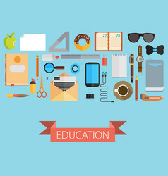 Flat set of equipment for education school vector