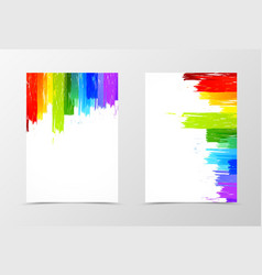 Front and back rainbow flyer template design vector image vector image