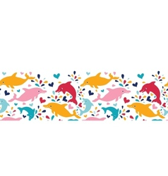 Fun colorful dolphins horizontal seamless pattern vector image