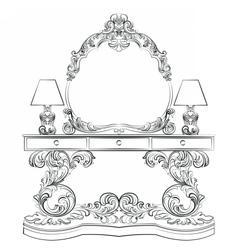 Glamorous fabulous baroque rococo table vector
