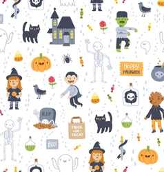 Halloween super seamless pattern on white vector