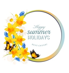 Happy Summer Holidays banner with flowers and vector image