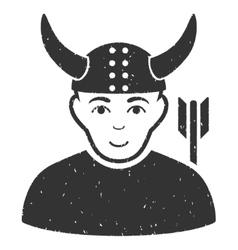 Horned warrior grainy texture icon vector