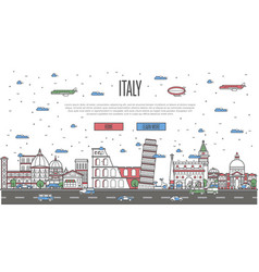 italian skyline with national famous landmarks vector image vector image