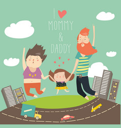 Joyful family is jumping dad mom and daughter vector