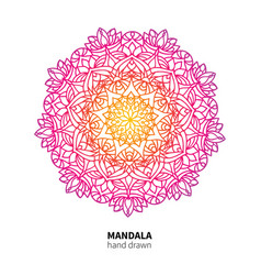 Mandala flower drawing ethnic colorful vector