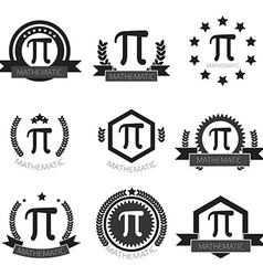 Mathematic pi logo set mathematic pi icons set vector
