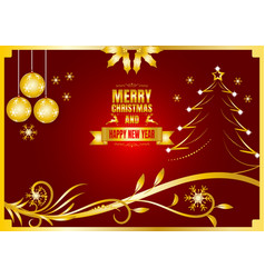 merry christmas and happy new year color gold and vector image vector image