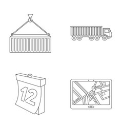 Metal container calendar truck gps navigator vector