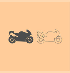 motorcycle dark grey set icon vector image