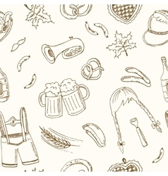 October fest doodle seamless pattern Vintage vector image