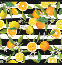 orange and lemon seamless tropical pattern vector image vector image