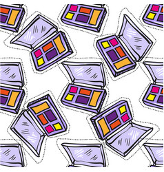 Seamless pattern of colorful eye shadow on a white vector