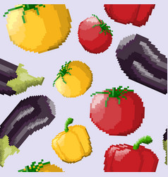 seamless pattern of pixel vegetables vector image