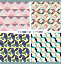 Set of four seamless geometrical patterns 6 vector