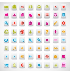 set of icons pink green yellow vector image vector image