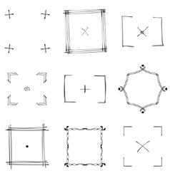Set of nine square black doodle frames vector image vector image