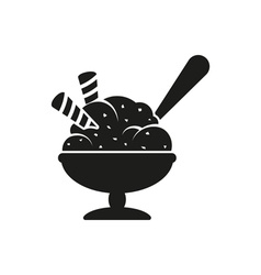 Simple black ice cream in bowl with spoon style vector