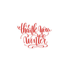 thank you winter hand lettering holiday vector image vector image