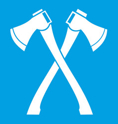 Two crossed axes icon white vector