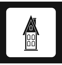Two storey house with attic icon simple style vector